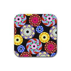 Colorful Retro Circular Pattern Rubber Square Coaster (4 pack)