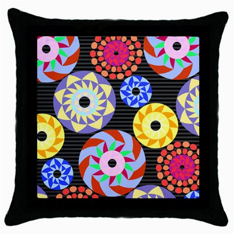 Colorful Retro Circular Pattern Throw Pillow Case (Black)