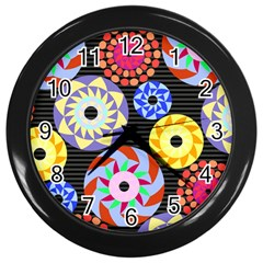 Colorful Retro Circular Pattern Wall Clocks (Black)