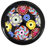 Colorful Retro Circular Pattern Wall Clocks (Black) Front