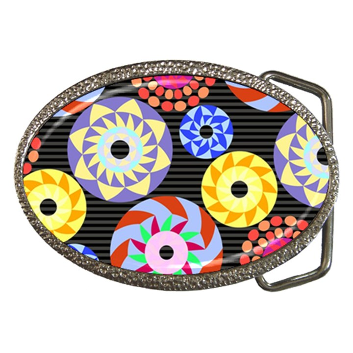 Colorful Retro Circular Pattern Belt Buckles
