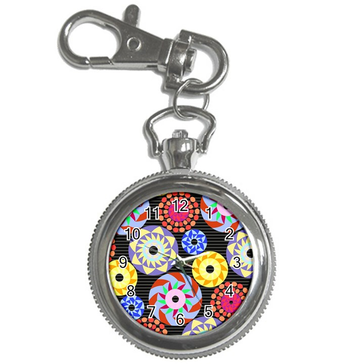 Colorful Retro Circular Pattern Key Chain Watches