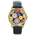 Colorful Retro Circular Pattern Round Gold Metal Watch Front