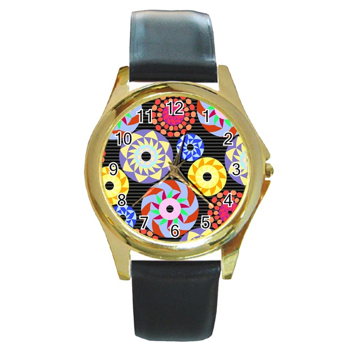 Colorful Retro Circular Pattern Round Gold Metal Watch