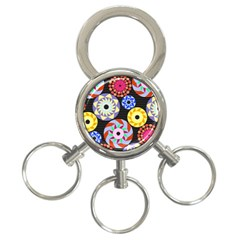 Colorful Retro Circular Pattern 3 Ring Key Chains