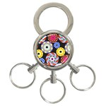 Colorful Retro Circular Pattern 3-Ring Key Chains Front