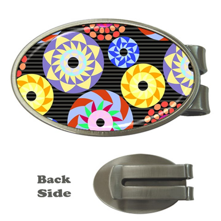 Colorful Retro Circular Pattern Money Clips (Oval)