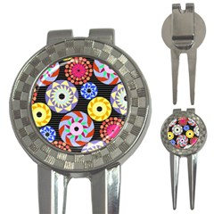 Colorful Retro Circular Pattern 3 In 1 Golf Divots