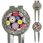 Colorful Retro Circular Pattern 3-in-1 Golf Divots Front