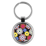 Colorful Retro Circular Pattern Key Chains (Round)  Front