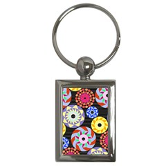 Colorful Retro Circular Pattern Key Chains (Rectangle)