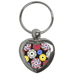 Colorful Retro Circular Pattern Key Chains (Heart)  Front