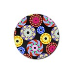 Colorful Retro Circular Pattern Rubber Round Coaster (4 pack)  Front