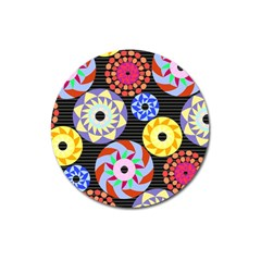 Colorful Retro Circular Pattern Magnet 3  (round)