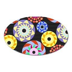 Colorful Retro Circular Pattern Oval Magnet