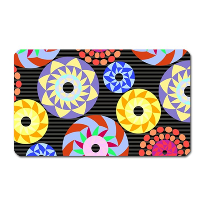 Colorful Retro Circular Pattern Magnet (Rectangular)