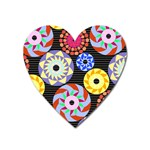 Colorful Retro Circular Pattern Heart Magnet Front