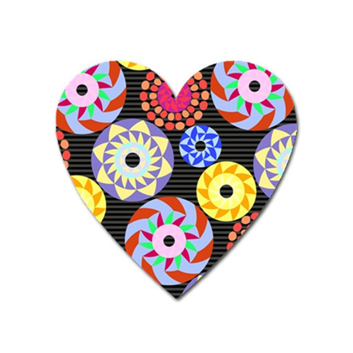 Colorful Retro Circular Pattern Heart Magnet