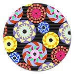 Colorful Retro Circular Pattern Magnet 5  (Round) Front