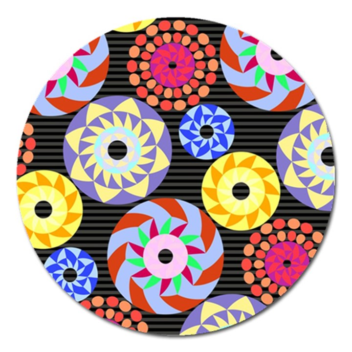 Colorful Retro Circular Pattern Magnet 5  (Round)