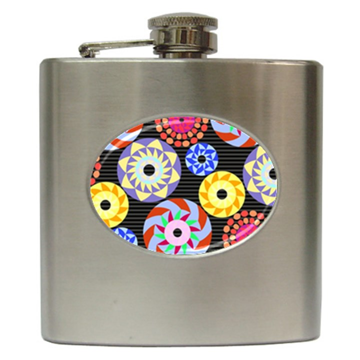 Colorful Retro Circular Pattern Hip Flask (6 oz)