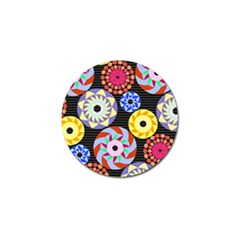 Colorful Retro Circular Pattern Golf Ball Marker