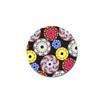 Colorful Retro Circular Pattern Golf Ball Marker Front