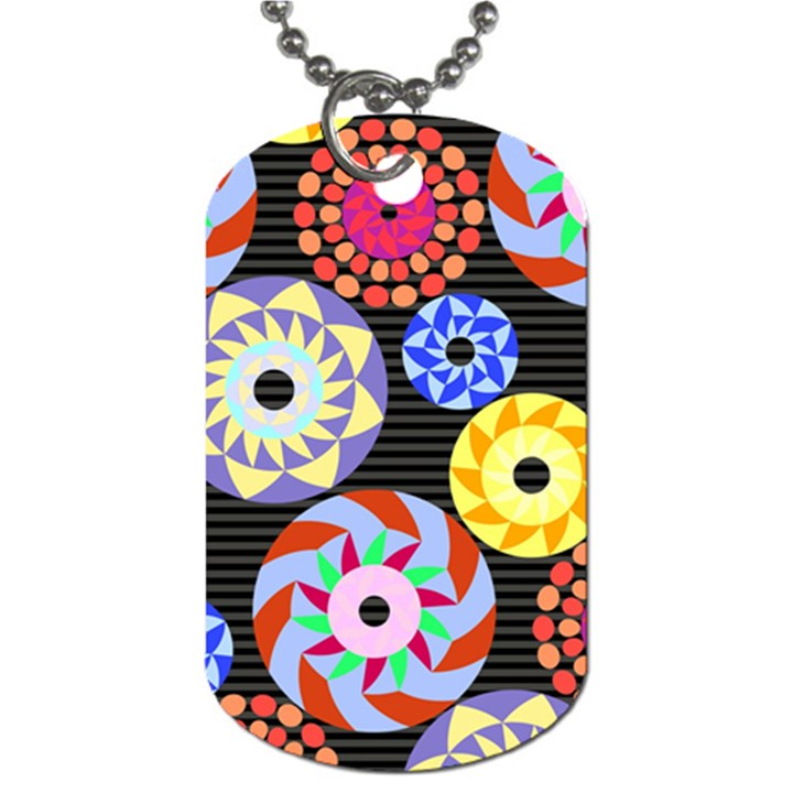Colorful Retro Circular Pattern Dog Tag (Two Sides)