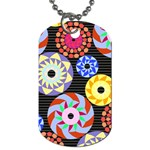 Colorful Retro Circular Pattern Dog Tag (Two Sides) Back
