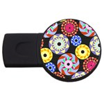 Colorful Retro Circular Pattern USB Flash Drive Round (1 GB)  Front