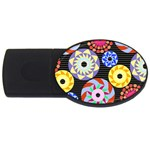 Colorful Retro Circular Pattern USB Flash Drive Oval (2 GB)  Front