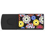 Colorful Retro Circular Pattern USB Flash Drive Rectangular (2 GB)  Front