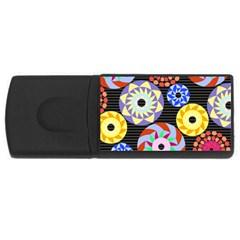 Colorful Retro Circular Pattern USB Flash Drive Rectangular (1 GB)