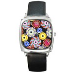 Colorful Retro Circular Pattern Square Metal Watch Front