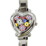 Colorful Retro Circular Pattern Heart Italian Charm Watch Front