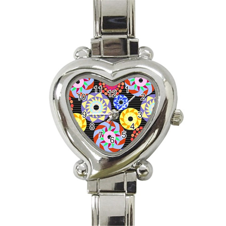 Colorful Retro Circular Pattern Heart Italian Charm Watch