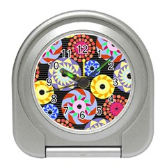 Colorful Retro Circular Pattern Travel Alarm Clocks
