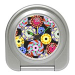 Colorful Retro Circular Pattern Travel Alarm Clocks Front