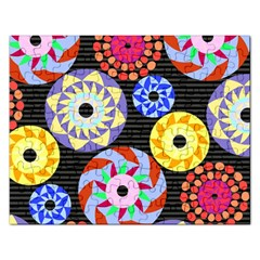 Colorful Retro Circular Pattern Rectangular Jigsaw Puzzl