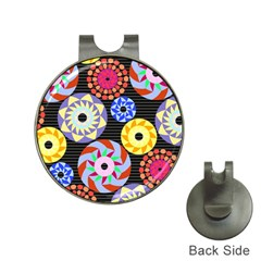 Colorful Retro Circular Pattern Hat Clips With Golf Markers