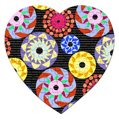 Colorful Retro Circular Pattern Jigsaw Puzzle (heart)