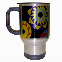 Colorful Retro Circular Pattern Travel Mug (Silver Gray)