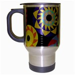 Colorful Retro Circular Pattern Travel Mug (Silver Gray) Left