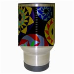 Colorful Retro Circular Pattern Travel Mug (Silver Gray) Center