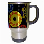 Colorful Retro Circular Pattern Travel Mug (Silver Gray) Right