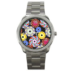 Colorful Retro Circular Pattern Sport Metal Watch