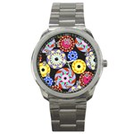 Colorful Retro Circular Pattern Sport Metal Watch Front