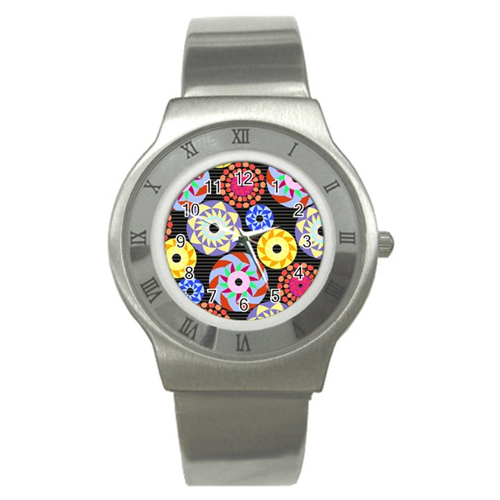 Colorful Retro Circular Pattern Stainless Steel Watch