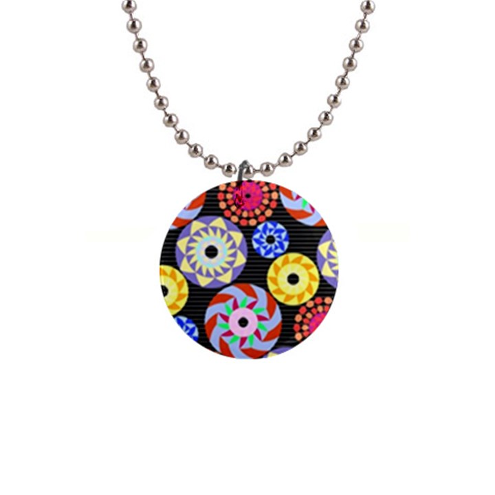 Colorful Retro Circular Pattern Button Necklaces