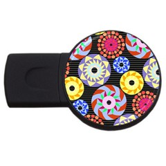 Colorful Retro Circular Pattern USB Flash Drive Round (4 GB)